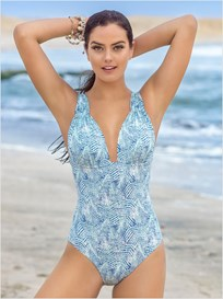 plunge slimming one-piece swimsuit-572- Blue-MainImage
