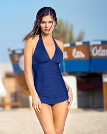 ruched one-piece swimsuit-549- Blue-MainImage