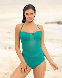 slimming strapless mesh one-piece-692- Sea Green-MainImage