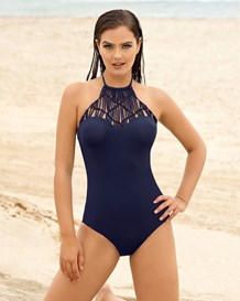 slimming high-neck one-piece swimsuit-509- Dark Blue-MainImage