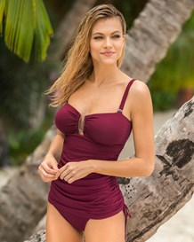 firm compression one-piece suit with versatile skirt-466- Wine-MainImage