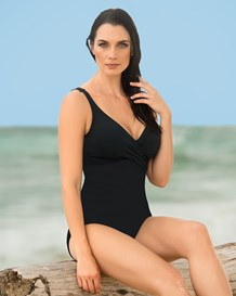 tummy control one piece swimsuit with crisscross top-700- Black-MainImage