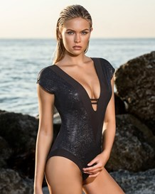 baroque plunging neckline one-piece slimming swimsuit-700- Black-MainImage