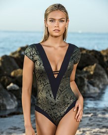 baroque plunging neckline one-piece slimming swimsuit-701- Graphic Black-MainImage