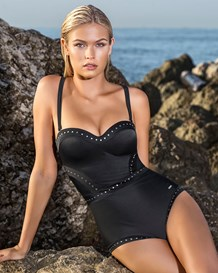 slimming strapless studded one piece underwire swimsuit-700- Black-MainImage