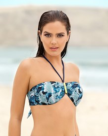 strapless bandeau top with golden clip-509- Blue-MainImage