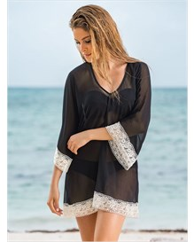 v-neck tunic cover-up with crochet-700- Black-MainImage