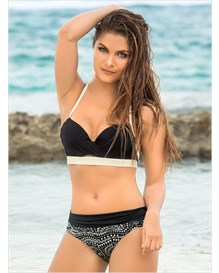 bustier top and versatile high-waist bottom bikini-700- Black-MainImage
