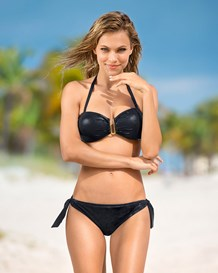 leather look bandeau bikini swimsuit-700- Black-MainImage