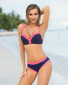 color block bustier bikini swimsuit with air padding-509- Blue-MainImage