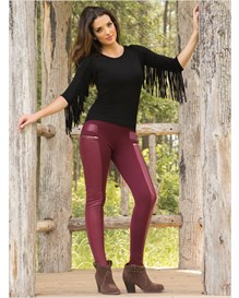faux leather trim skinny pants-355- Dark Berry-MainImage