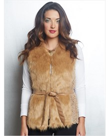 fur vest with tie-belt-831- Camel-MainImage