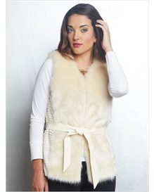 fur vest with tie-belt-878- Cream-MainImage