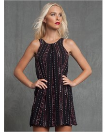 sleeveless tribal print shift dress-700- Black-MainImage