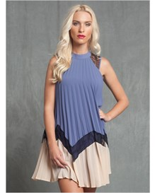 sleeveless chiffon high neck dress-557- Blue-MainImage