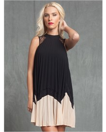 sleeveless chiffon high neck dress-700- Black-MainImage