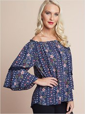 floral off the shoulder top-547- Navy-MainImage