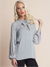 long sleeve blouse-711- Gray-MainImage