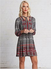 printed knit skater dress-700- Black-MainImage