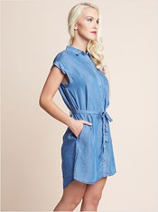 denim dress with tie belt-141- Denim-MainImage