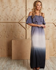 ombre off shoulder maxi dress-547- Navy-MainImage