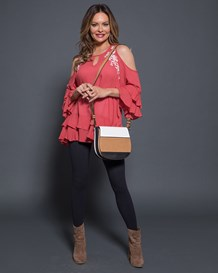 34 sleeve cold shoulder top-279- Coral-MainImage