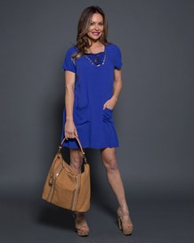 half sleeve lace-up shift dress-547- Blue-MainImage