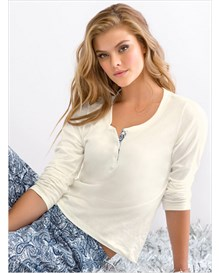 long sleeve pajama shirt-895- Cream-MainImage
